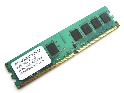 Electrobyt PC2-5300U-555-12 2GB 2Rx8 240-pin DIMM, Non-ECC DDR2 Desktop Memory Full Technical Specs and Reviews
