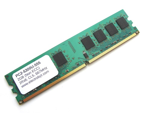 Electrobyt PC2-5300U-555 2GB 2Rx8 240-pin DIMM, Non-ECC DDR2 Desktop Memory Full Technical Specs and Reviews