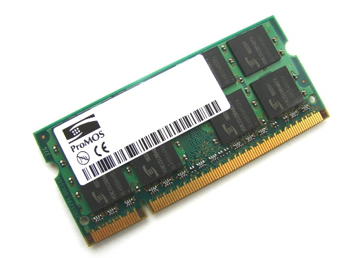 ProMOS V916765G24QCFW-F5 1GB 2Rx8 PC2-5300S-555 667MHz 200pin Laptop / Notebook Non-ECC SODIMM CL5 1.8V DDR2 Memory Full Technical Specs and Reviews
